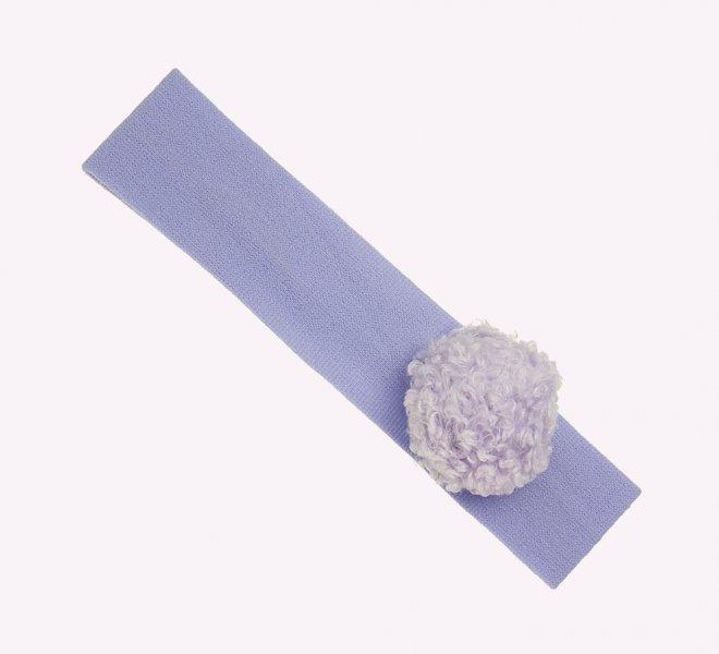 Cinta elástica ancha con pompón de lana azul