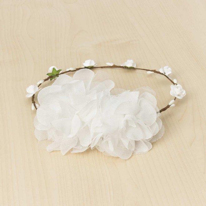 Corona ceremonia dos flores y tull y gasa color blanco