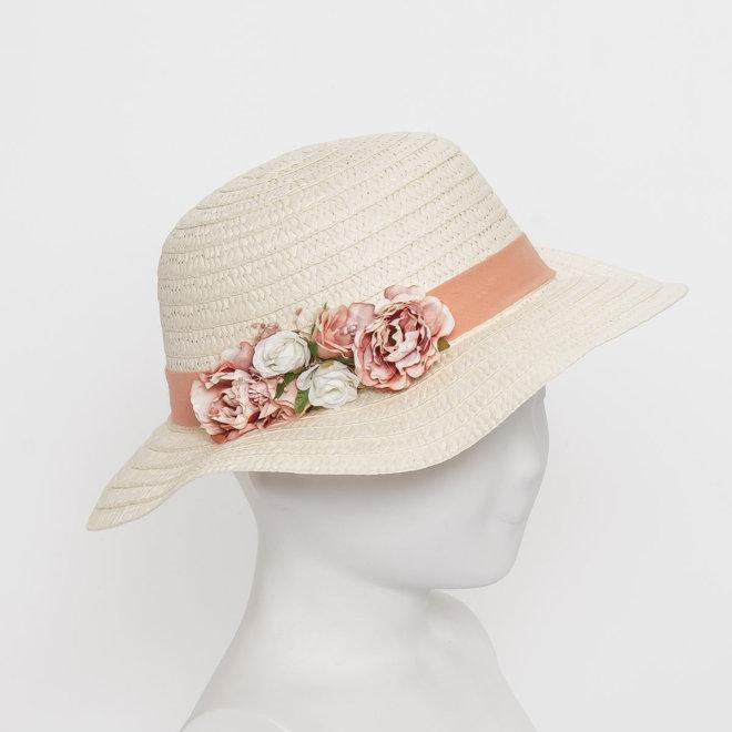 Sombrero fibra natural tocado flores de tela y flores naturales salmón