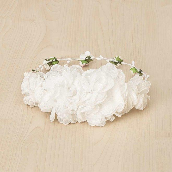 media corona grande flores bambula blanca