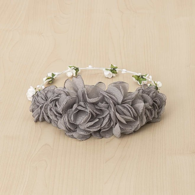 media corona grande flores bambula rosa gris