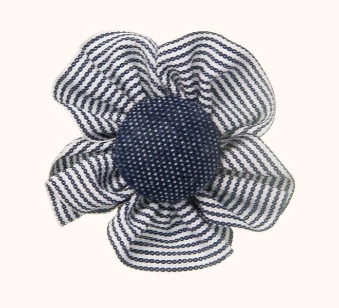 complemento pelo bebe flor rayas y botón