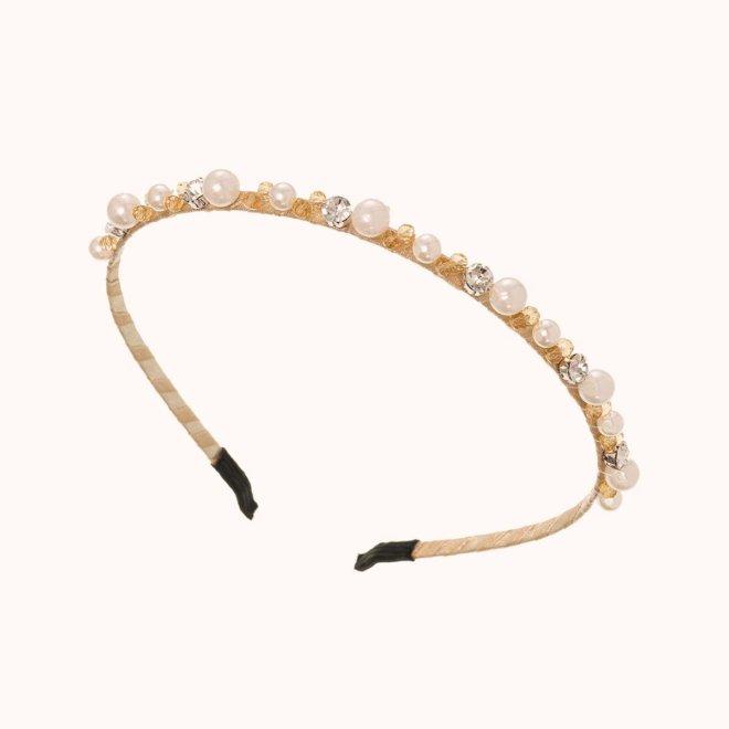 colección siena complementos mujer invierno 2020 diadema de perlas crudo