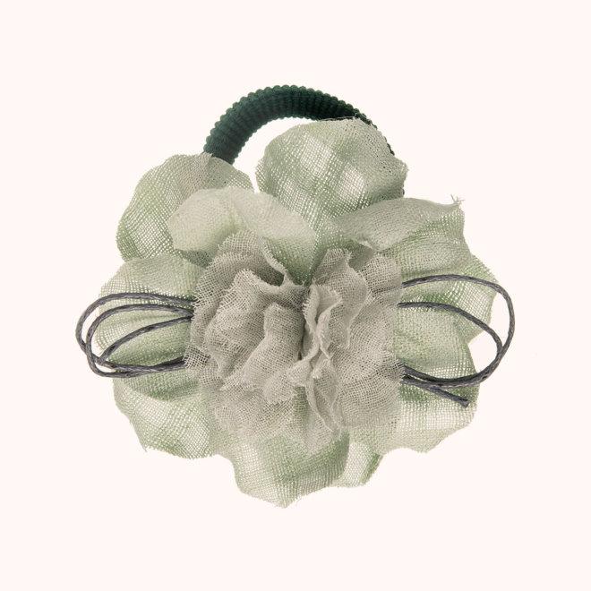 colección siena complementos niña invierno 2020 coletero flor aprestada con lacito verde agua marina