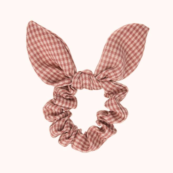 colección siena complementos niña invierno 2020 coletero con lazo tela de cuadros rosa