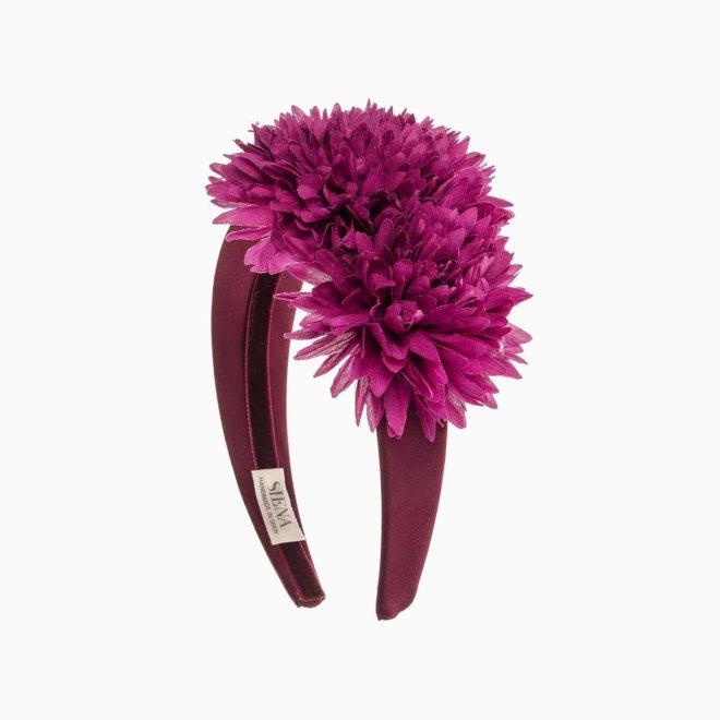 Diadema ancha mujer con flores color fucsia