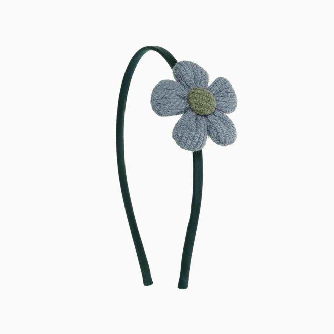 Diadema niña con flor de canalé verde y azul