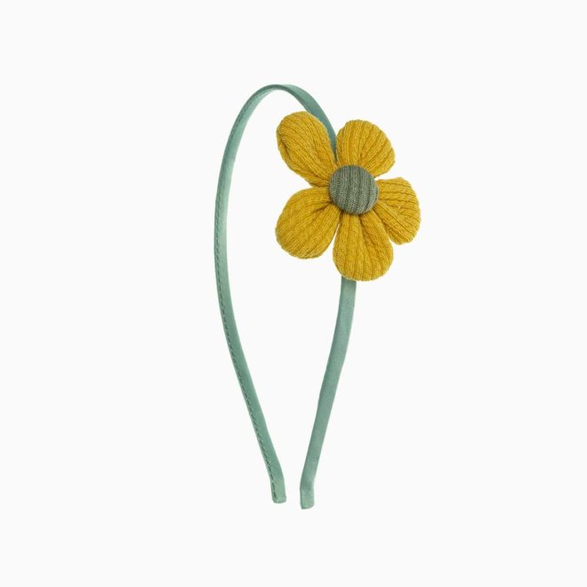 Diadema niña con flor de canalé mostaza y verde