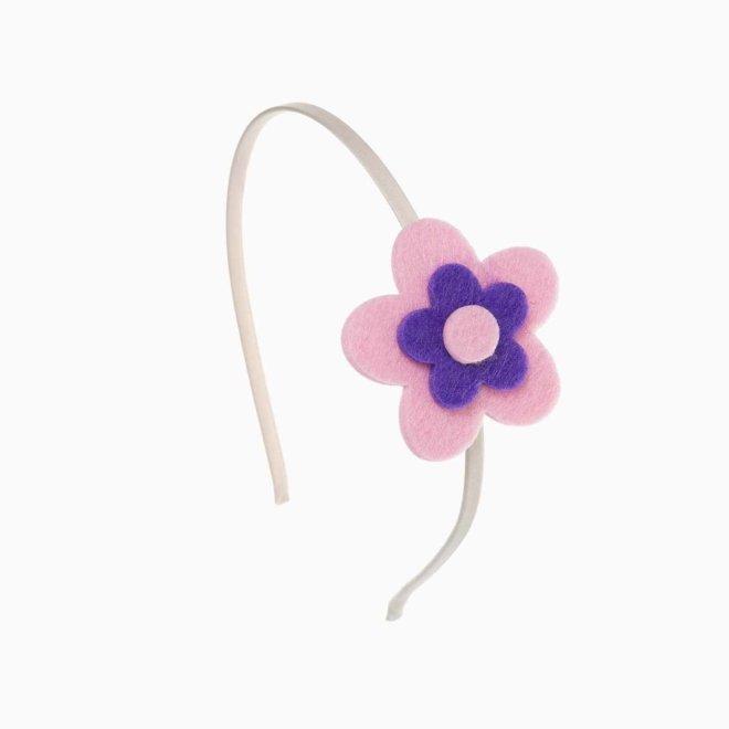 Diadema para niña con flor de fieltro rosa y morada