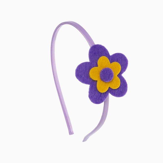 Diadema para niña con flor de fieltro morada